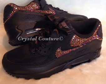 competitive price 1a73f 72bf1 Swarovski Nike Air Max 90, Ladies Bling Nike Air Max Sneakers, Rose Gold  Crystal Black Nike Air Max 90s customized Strass blinged Nikes