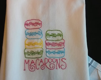 Macaroons tea towel, embroidered macaroons, hand embroidered tea towel, embroidered kitchen towel, macaron embroidery, French cookie decor