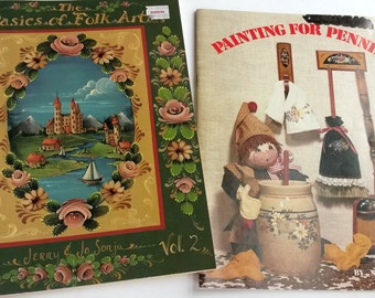 Folk art sampler tole painting books, tole painting patterns, vintage tole patterns, craft painting books