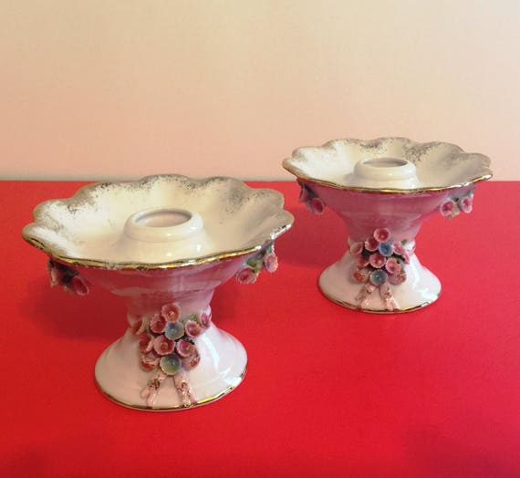 05d7d958130fca Vintage Lefton China Hand Painted Candle Holders DS1