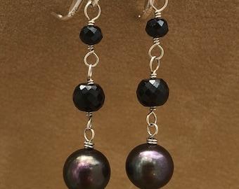 Handmade Pearl, Black Spinel, and Sterling Earrings