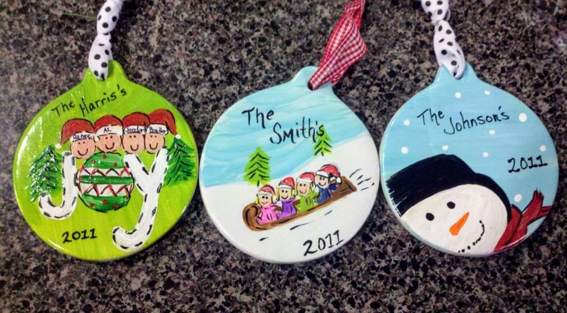 Personalized Christmas Ornament Custom gifts under 30 Christmas gift Family Ornament Keepsake Hand Painted