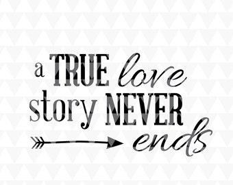 A True Love Story Never Ends Svg Pdf Jpeg Cricut Downloads Home Decor Romantic Word Art
