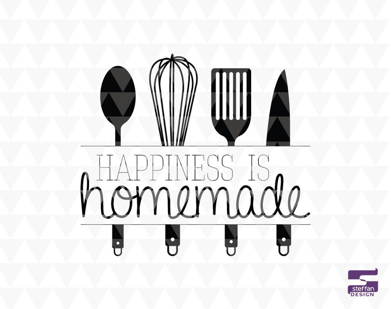 Happiness is homemade - SVG, PDF, JPEG, cricut downloads, kitchen svg,  kitchen word art