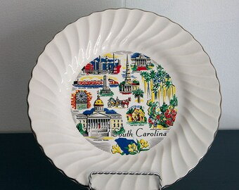 Vintage 1980's South Carolina Souvenir State Plate in Primary Colors