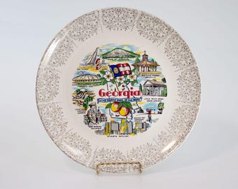 "Vintage 1980's Georgia ""The Empire State of the South"" Souvenir Travel Plate"