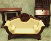 3 pcs Vintage Doll House Furniture - 1 12 Scale - Victorian Settee Sofa - Chippendale Drop Front Desk - Fire Place - Hand Made - Wooden