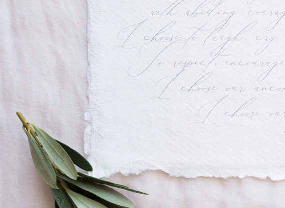 Simple Wedding Vows Template Calligraphy Wedding Vow Etsy