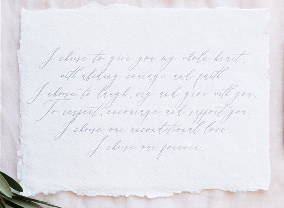 Simple Wedding Vows Template Calligraphy Vow