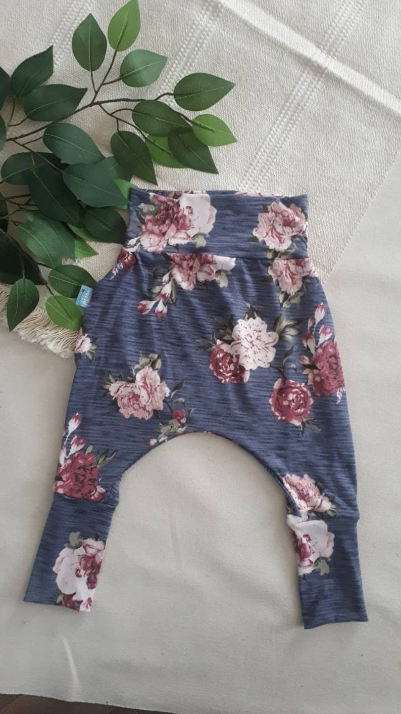 Sarouel pants scalable flowers soft polyester jogging girl
