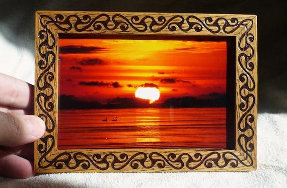 Wooden Frame Celtic Vintage Style Photo Frame Wood Engraving | Etsy