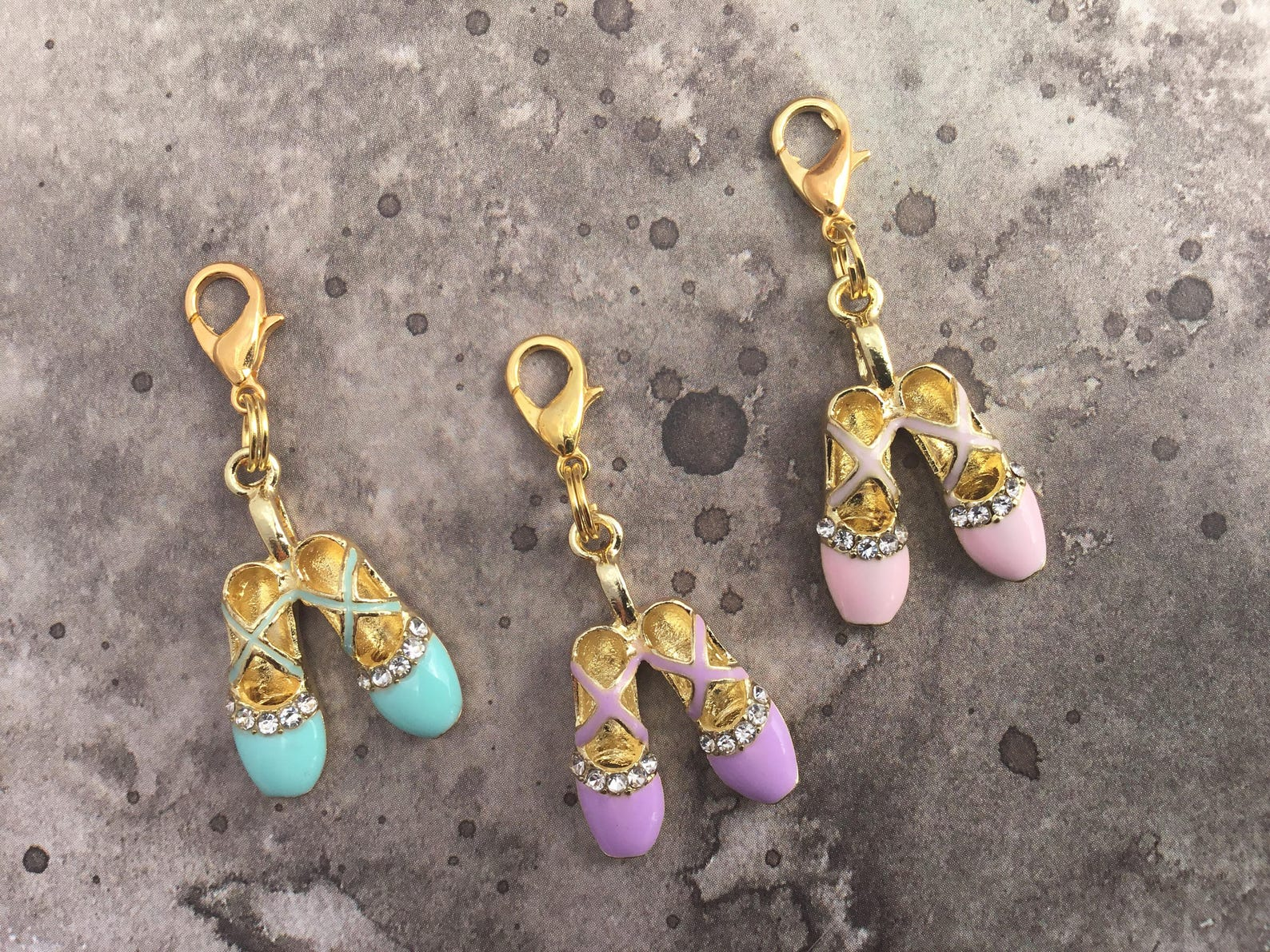 ballet shoes charm zipper pull pendant