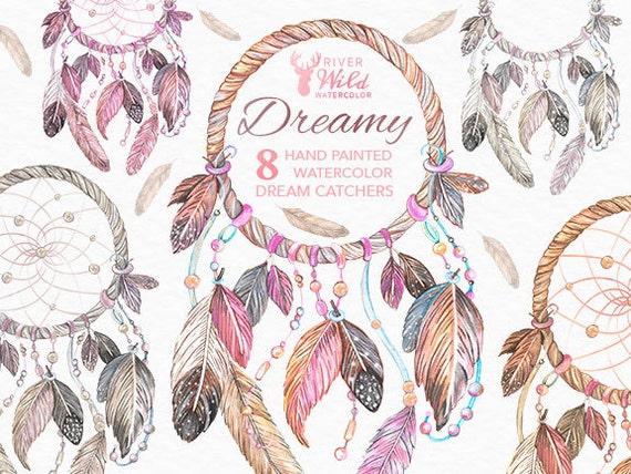 Dreamcatcher Watercolor Clipart Dream Catcher Native American Etsy Gorgeous Water Color Dream Catcher