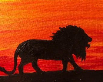 Acrylic on Canvas Lion Painting