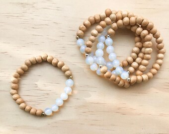 Luna | Moonstone & Wooden Bead bracelet