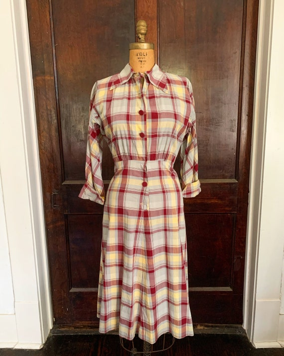 1940s Farm Plaid Handmade Dress