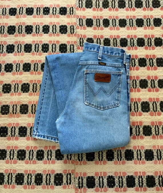 1970s High Waisted Vintage Wrangler Worn Wrangler