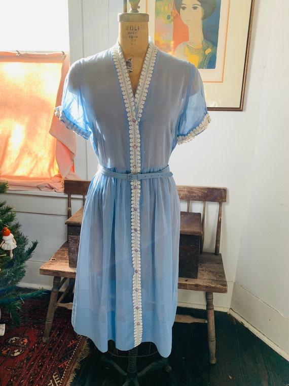 1950s Sheer Light Blue Lace Dress