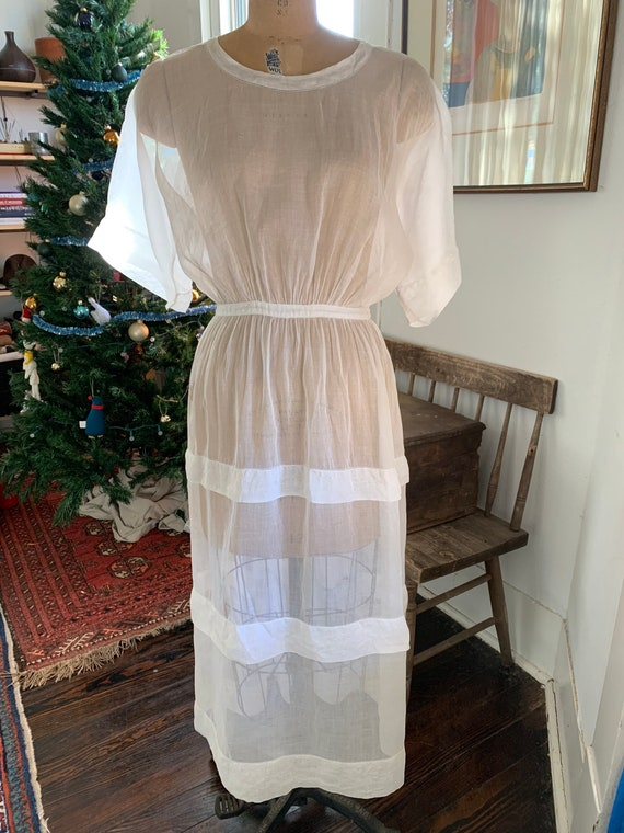 1900s Edwardian White Tea /Lawn Sheer Dress
