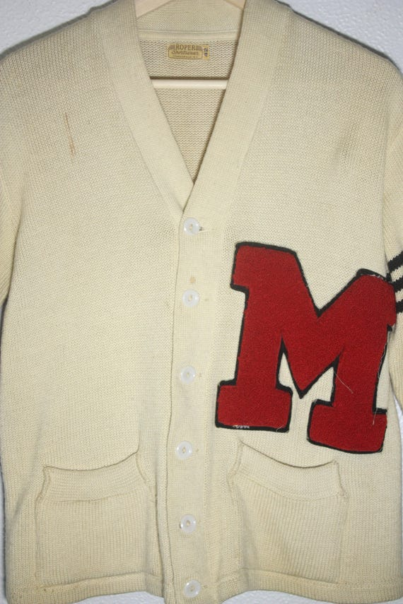 Vintage 50's / 60's Wool Off White / Creme with R… - image 2