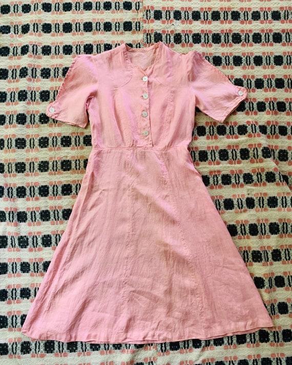 1930s Linen Light Pink Day Dress - image 2