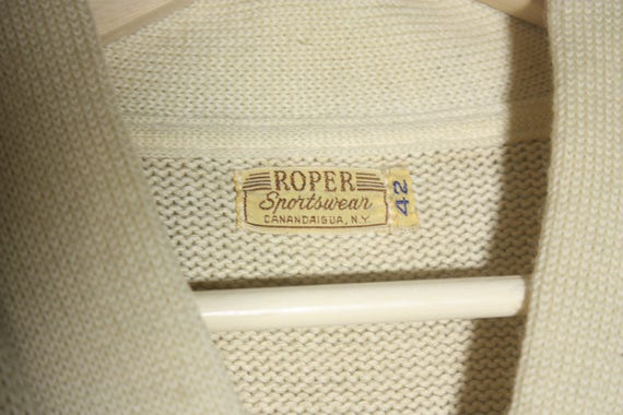 Vintage 50's / 60's Wool Off White / Creme with R… - image 5