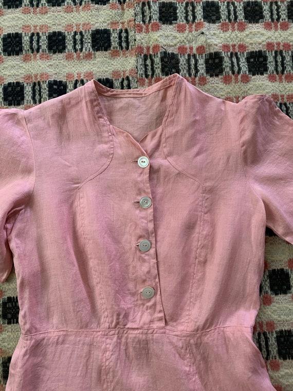 1930s Linen Light Pink Day Dress - image 4