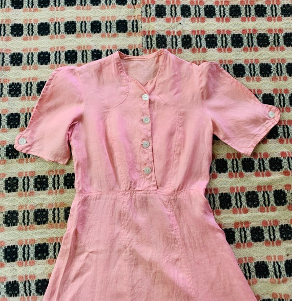 1930s Linen Light Pink Day Dress