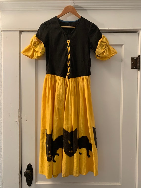 Antique Cat Witchy Halloween Gold And Black Dress