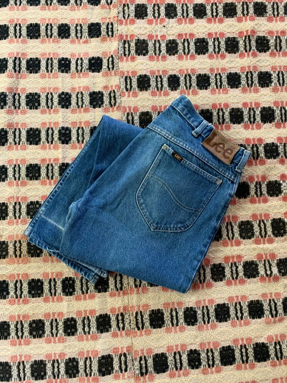 Vintage 70s/80s Lee High Waisted Denim Blue Jeans