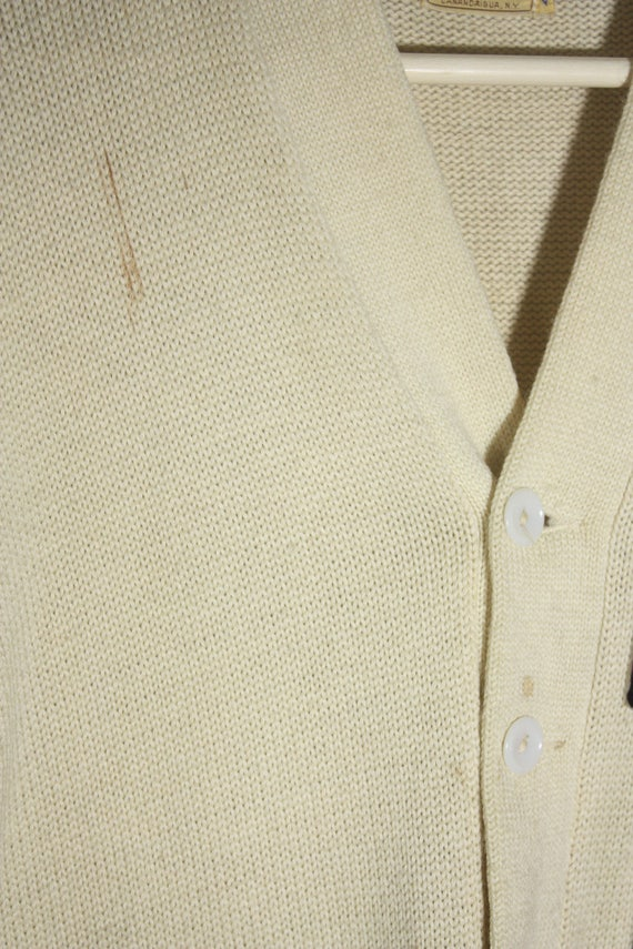 Vintage 50's / 60's Wool Off White / Creme with R… - image 6