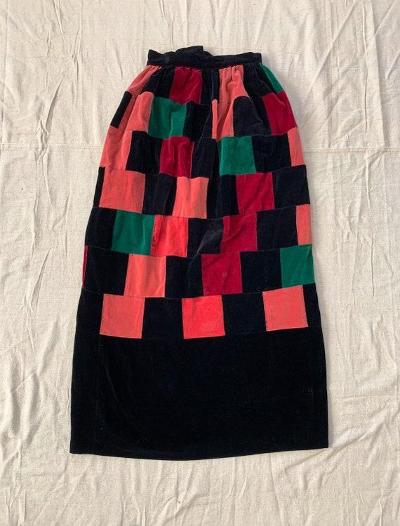 Vintage Velvet Patchwork Maxi Skirt