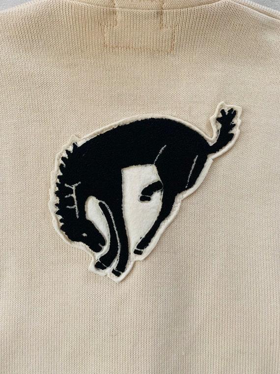 Vintage 1960s Wool Cream Varsity Sweater Horse Pat