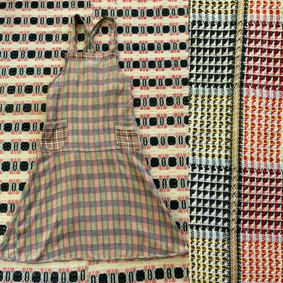 1930s Plaid Apron / Chore Dress / Work Dress