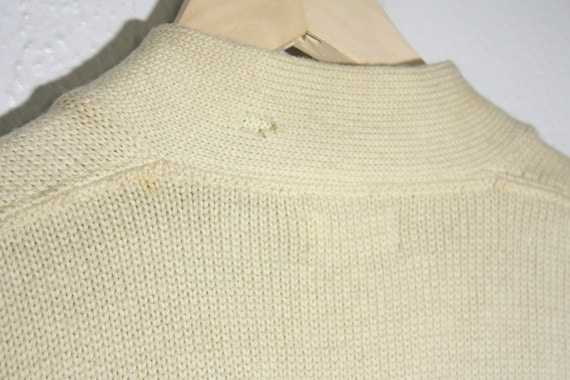 Vintage 50's / 60's Wool Off White / Creme with R… - image 4