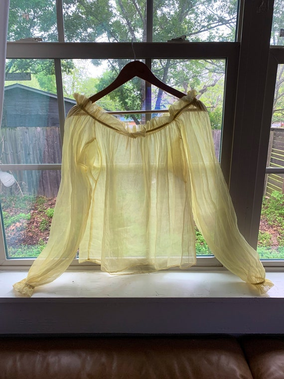 1950s Sheer Yellow Organza Boat Neck Blouse
