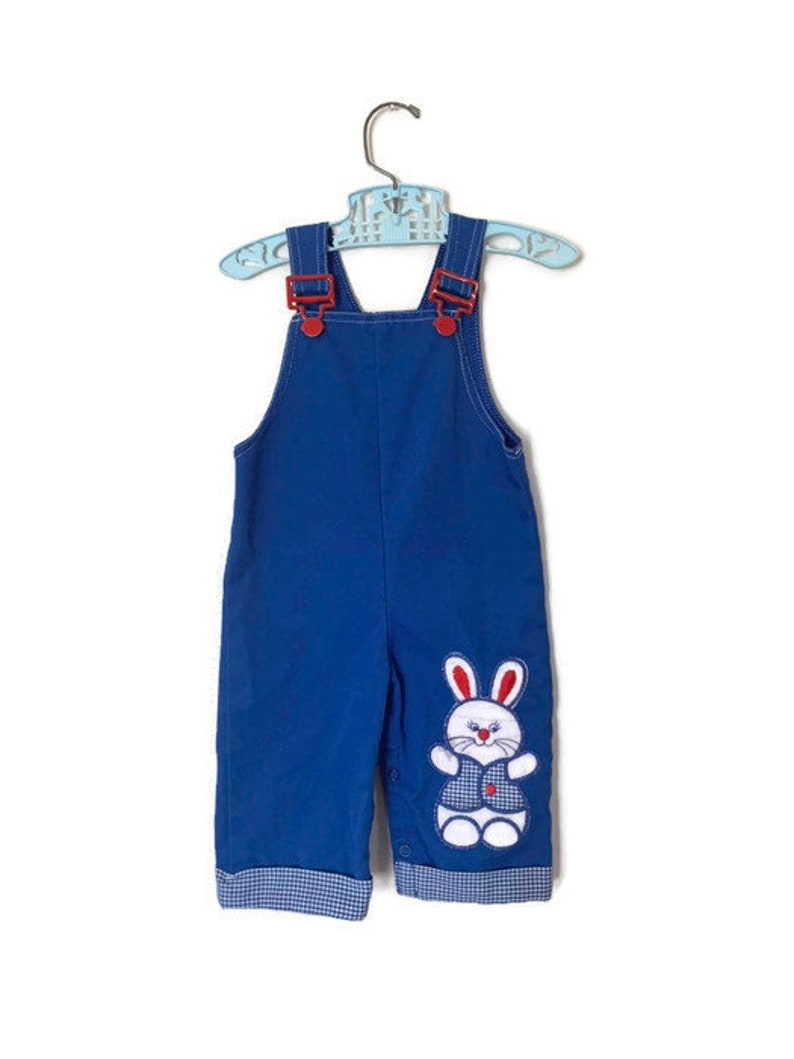 6ac6e67f4 Vintage baby boy Carters Easter bunny overalls 12 months blue | Etsy