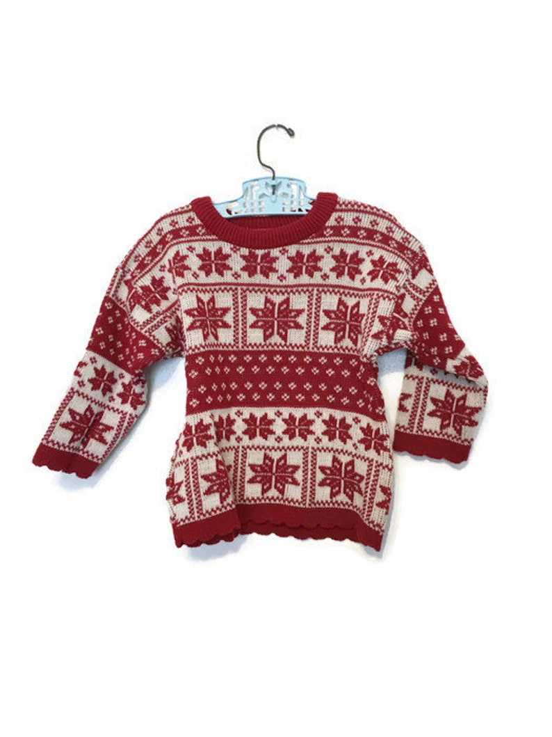 9a73af83d10e Ugly christmas sweater girls holiday red and white fairisle