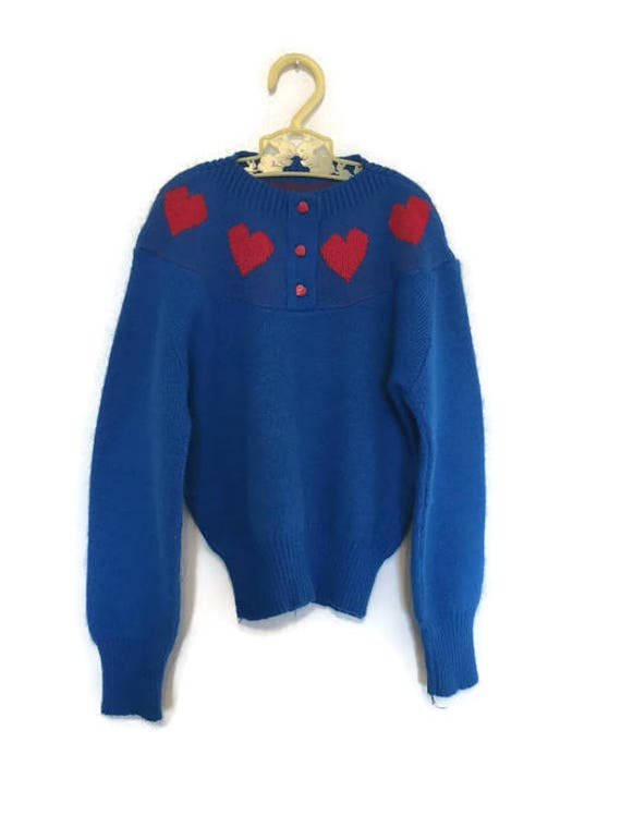 Vintage Girls Ugly Heart Sweater Valentines Day 5t Blue And Etsy
