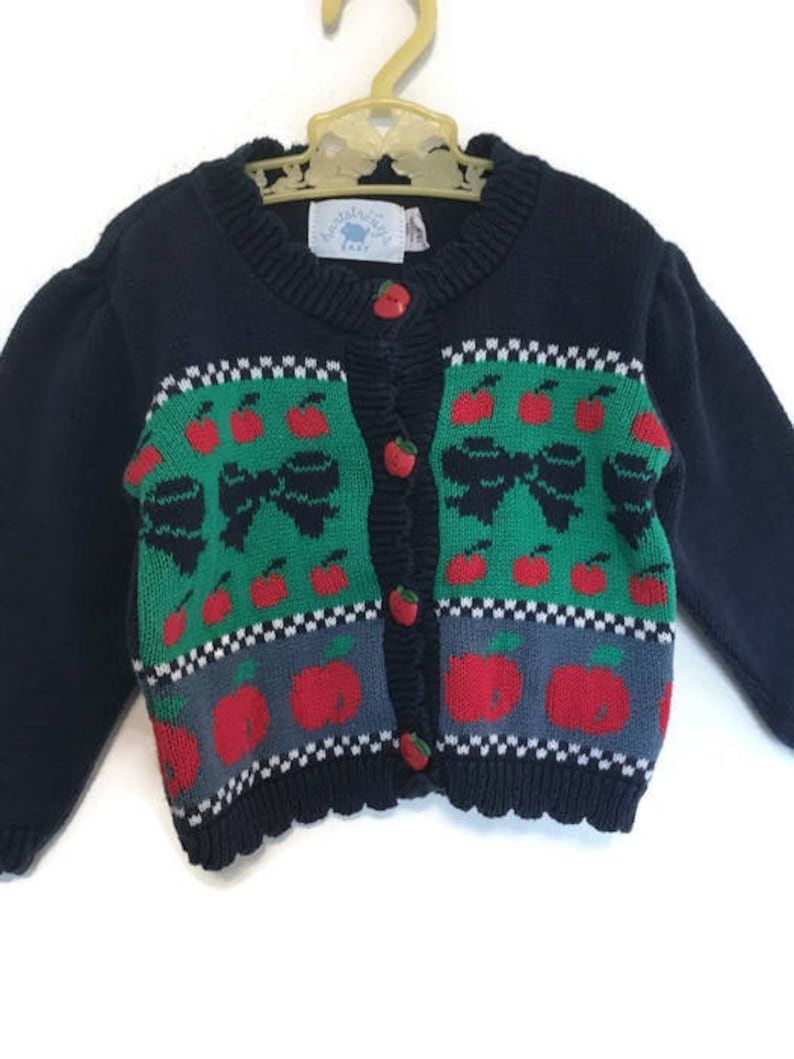 hot sale online 9c9e8 b03cc Vintage baby girl clothes, fall ugly sweater cardigan, apples and bows, 18  months toddler