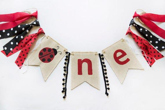 Ladybug Birthday HighChair Banner Girls 1st