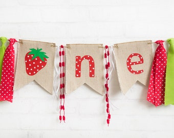 Strawberry HighChair Banner - Summer Fruit Birthday - Strawberry Cake Smash - High Chair Garland - Girls 1st Birthday Banner - Party Ideas