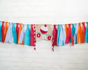 Fishing Highchair Banner - 1st Birthday High Chair Garland - Fisherman Theme - Boy One Banner - Camping Woodland First Birthday Party