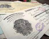 Set of 8 French Antique mainly handwritten paying Certificates of big enterprises, 1930,s