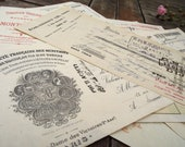 Set of 8 Antique French Mainly handwritten paying Certificates of big enterprises, 1930,s