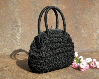 Gorgeous Black Italian Vintage crochet hand bag or clutch, 1960's, vintage purse, macrame bag, Italian bag, Sixties.