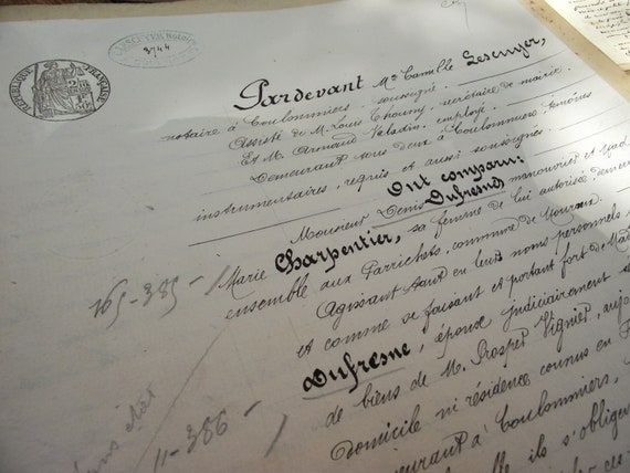 Interesting bunch of 3 Antique French handwritten documents, paying certificates, invoices, and Antique French postcards featuring woman .