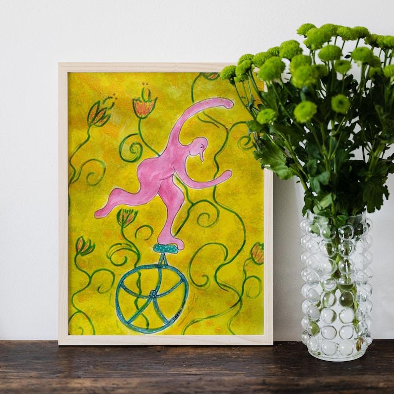 Original watercolor drawing Monocycle Monsieur Gum  .Unique image 0