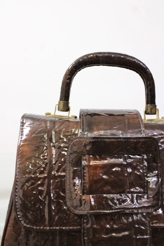 60s 70s 90s Faux Patent Leather Brown Textured Le… - image 4