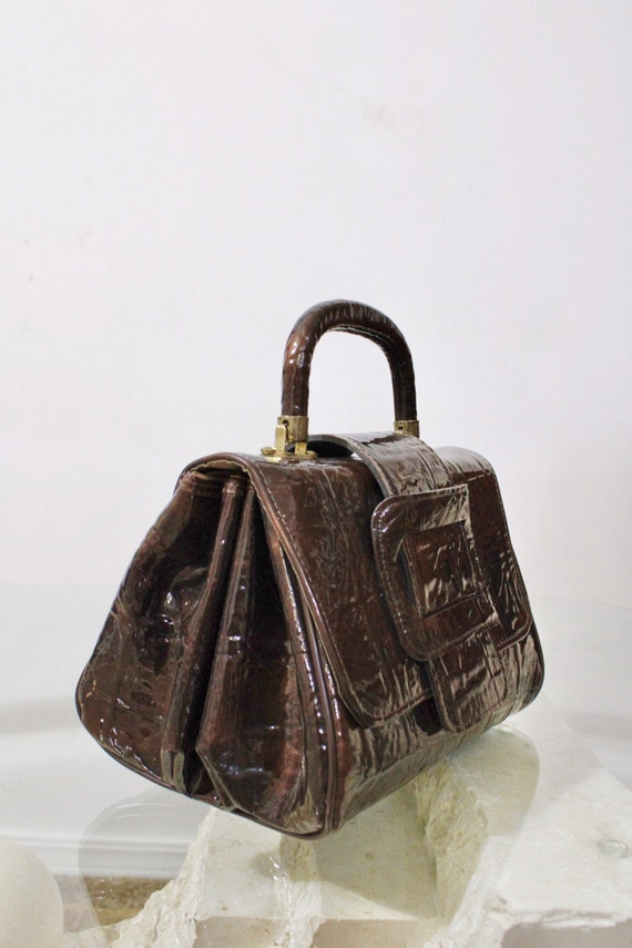 60s 70s 90s Faux Patent Leather Brown Textured Le… - image 2
